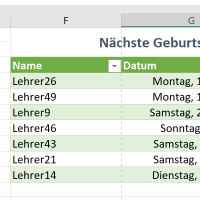 Aktuelle Geburtstage in Excel